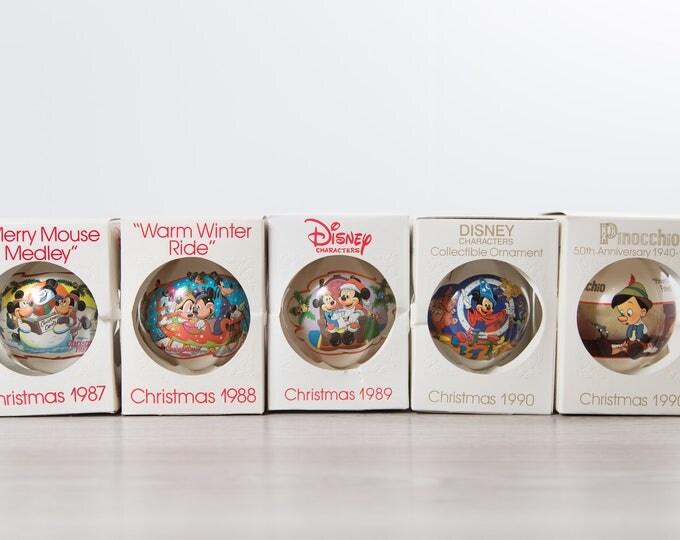 Disney Christmas Bulbs  / Collectible Vintage Decorative Hanging Christmas Tree Ornaments / Kids Children Present