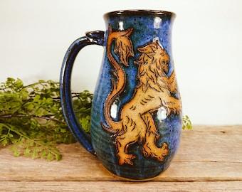 Lion Stein 28 oz - Craft Beer Mug - Craft Beer Lovers Gift - Beer Mugs - Big Ceramic Mug - Lion Beer Mug - Mesiree Ceramics - Big Mug