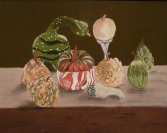 The colocynths in my garden pastel still life painting Chalk Art Wall decoration Fruits Arrangement