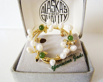 Vintage Gold Genuine Jade & Ovoid Baroque Freshwater Pearl Floral Brooch by Alaska w/ Box