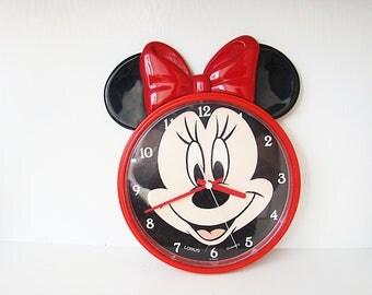 Vintage Minnie Mouse Clock by Lorus, Disney Minnie, Children Wall Clock