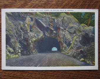 Vintage Linen Postcard, Tunnel, Skyline Drive, Shenandoah National Park History, Virginia, Driving, Historic Scenic Roads, Highways, Travel