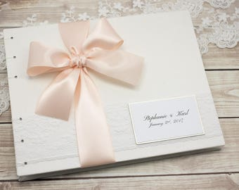 Wedding Guest Book, Instant Photo, Ivory Guest Book, Photo Guest Book, Ivory and Pink, Blush, Elegant Guest Book, Custom Made For You