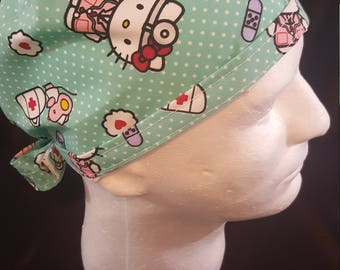 Medical Hello Kitty  Tie Back Surgical Scrub Hat