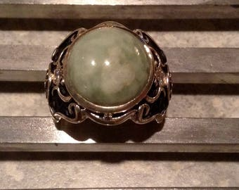 Vintage estate jade and diamond ring