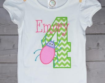 Personalized Birthday Bug Applique Shirt or Onesie Girl or Boy