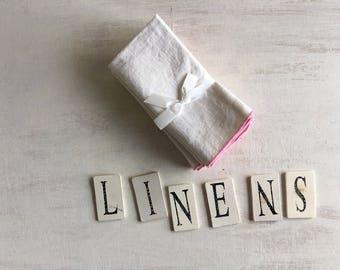 A Set of 4 Vintage Linen Napkins Trimmed in Pink