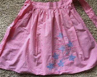 Vintage Pink Gingham Check Half Apron With Blue Embroidery