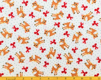 Rudolph the Red Nosed Reindeer Fabric Rudolph and Bows Toss in Red Fabric From Quilting Treasures 100% Cotton