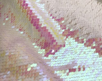 1yard Iridescent Pink/White Flip Up Sequin Fabric,Reversible Sequin Fabric,two-Tone Sequin on Satin Fabric,no Stretch Mermaid Sequin Fabri