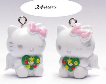 x 1 Kitty Cat 3D kawaii Angel 24 mm