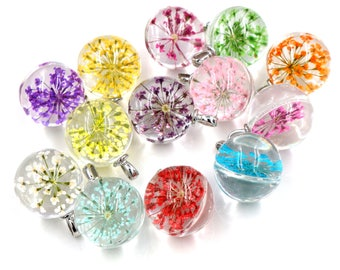 X 1 glass round pendant and dried flower