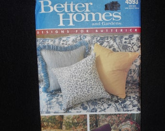 Butterick 4593 Better Homes Gardens Designs Pillows Square Triangle Round Octagon Rectangle