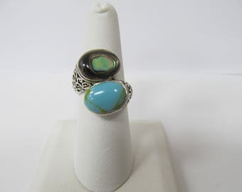 925 Silver Abalone Shell and Turquoise Ornate Bypass Ring W #559