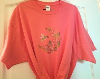 Color Choice Bling Rhinestone Ruby Throated Hummingbird Hibiscus Shirt TShirt Ladies Medium Large XLarge 2X