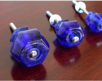 """1"""" Cobalt BLUE Glass Cabinet Knobs Pulls Vintage Dresser Drawer Hardware"""