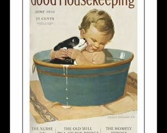 "Good Housekeeping of a little girl with puppy.  June 1932.  11x14"" premium poster paper art print"