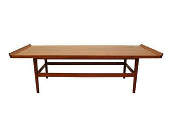 Mid-Century Coffee Table Danish Modern Flared Edge Parquet Top Coffee Table