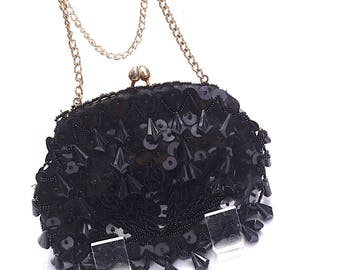 Vintage Evening Bag,Black Beaded Purse,Hand Made in Hong Kong,Small Black Bag,Convertible to Clutch,Chain Strap,Vintage Purse,Sequin Purse