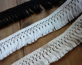 "1.5"" Soft Cotton Fringe/ Black white ivory Cotton  Tassel Fringe cotton tassel fringe - L21"