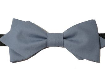 Bowtie blue grey with sharp edges.