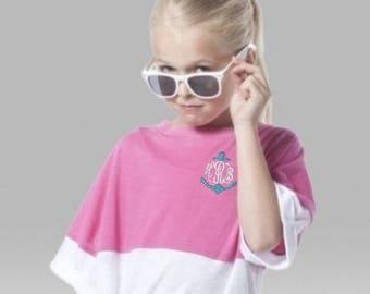 Girls Monogram/Pom Pom Jersey/Monogram Over-sized Shirt/Embroidered Monogram/Birthday/Short Sleeve Pom Pom Jersey/Boxercraft