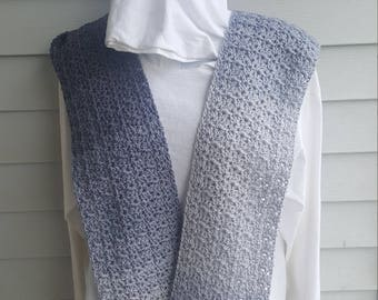 jazzy striping scarf, striping scarf, crochet scarf. (anthracite ombre)