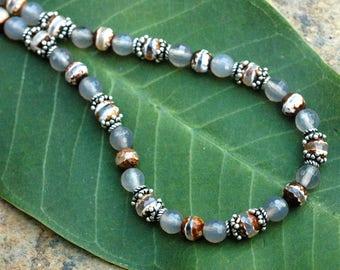 Multicolor Agate Gemstone Necklace; Neutral Brown and Gray Agate Gemstone Necklace; Sterling Silver Gemstone Necklace