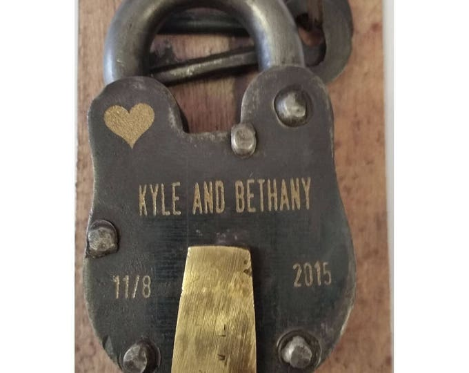 """ENGRAVED FRONT and BACK- Antique Vintage Engraved Padlock """"Love Lock"""" Personalized"""