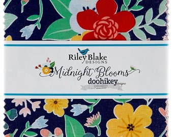 """Midnight Blooms 5"""" Stacker by Shari Butler for doohikey designs for Riley Blake Designs"""