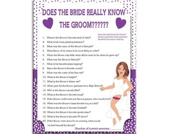 Bridal Shower Game, Does the Bride really know the Groom, Purple Poke-a-dots, Couples Shower Game, Instant Download