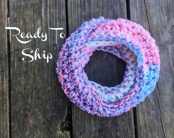 Toddler Infinity Scarf Multicolor Pink Blue Gray White Toddler Crochet Infinity Scarf