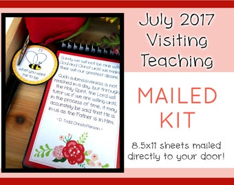 MAILED KIT - July 2017 Visiting Teaching, MAILED 8.5 x 11 sheets, Lds Relief Society