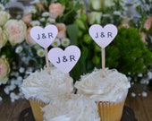 blush heart wedding cupcake toppers, blush custom initial cupcake toppers, wedding heart cupcake toppers, peach heart party picks- set of 24