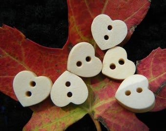 6 Heart Buttons, 12mm Plain Wooden Heart-shaped Buttons, Craft buttons, 2-hole flatback wood buttons,