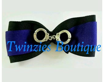 Thin Blue Line Police hair bow