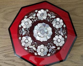 Red lacquer jewelry box, inlaid Mother of Pearl, jewelry holder octagon, Valentines gift for her