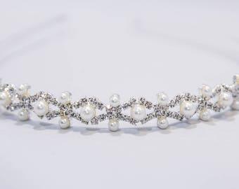 Bridal Hair Accessories Wedding Day Hairband Pearls Crystal Tiara Bridesmaids Alternative Tiara Wedding Day Hair Accessories Headband