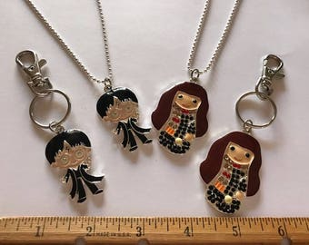 YOU PICK Cute Wizard Inspired Charm Necklace or Clip