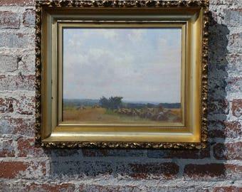 Robert Vonnoh - Grèz-sur-Loing Haystacks Landscape-Important Impressionist-Oil Painting-c1890s