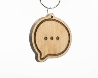 Speech Bubble Emoji Keychain - Speech Balloon Emoji - Chat Bubble Emoji - Conversation Emoji - Typing a Message Emoji - Cartoon Bubble Emoji