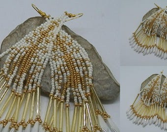 Woven white and gold earrings