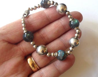 "Vintage Sterling Silver Beads 16.6g & Round Natural Blue Flash Labradorite Gemstone Beaded Bracelet 7.25"" Inches"