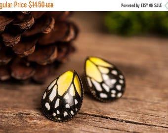 20% OFF Yellow butterfly earrings, butterfly wing earrings, tear drop earrings, stud earrings, antique brass earrings, glass dome earrings