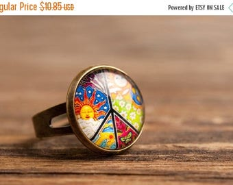 20% OFF Peace ring, adjustable ring, colorful ring, statement ring, brass ring, glass dome ring, antique bronze / silver plated ring, jewelr