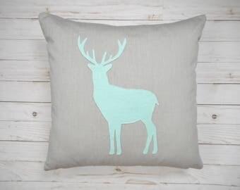 Deer Pillow / Mint & Grey / Woodland Decor / Deer Silhouette / Decorative Pillow / Woodland Animal / Cabin Decor / Reindeer Pillow / Buck