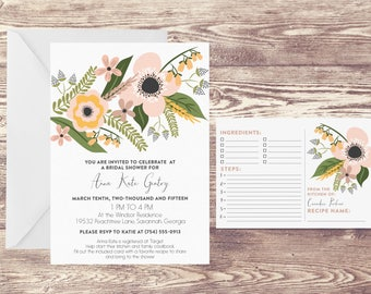 Printed Bridal Shower Invitation with Recipe Card, Recipe Cards for Kitchen Bridal Shower, Wedding Shower Invitation, Kitchen Shower Invite