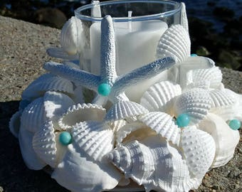 White Shell Wreath With Candle - Beach Centerpiece (CW043)