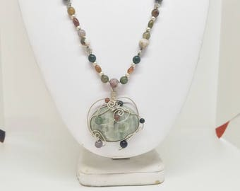 Statement necklace, Fancy Jasper, Beaded necklace, wirewrapped pendant