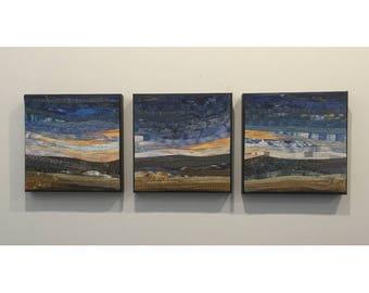 Framed art quilt. Modern landscape. Prairie scene. 12x36 in. Modern home decor. For the wall. Original textile art. Abstract fiber art.